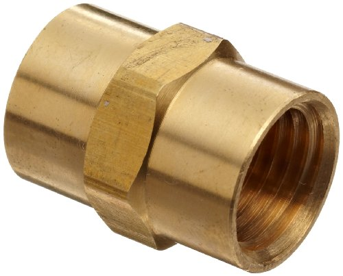 "Anderson Metals Brass Pipe Fitting, Coupling, 3/8"" x 3/8"" Female Pipe"