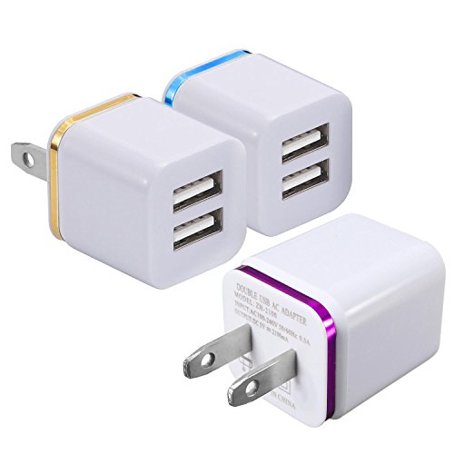 2-Port 2.1A USB Wall Charger [3-PACK] ML Dual Portable Travel Power Adapter Compatible for Apple iPhone X 8/7/6 Plus SE/5S/4S,iPad, iPod,Samsung Galaxy S7 S6, HTC, LG, Table, Motorola And More (White)