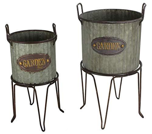 - Set of 2 Metal Freestanding Farmhouse Planter