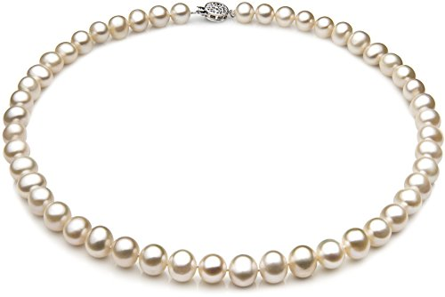 PearlsOnly - Single White 7-8mm A Quality Freshwater 925 Sterling Silver Cultured Pearl Necklace-23 in Matinee length by PearlsOnly
