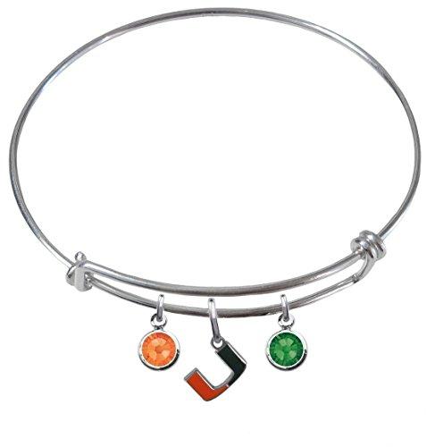Miami Hurricanes Expandable Wire Charm Bracelet Bangle w/ Team Color - Tiffany Miami And Co