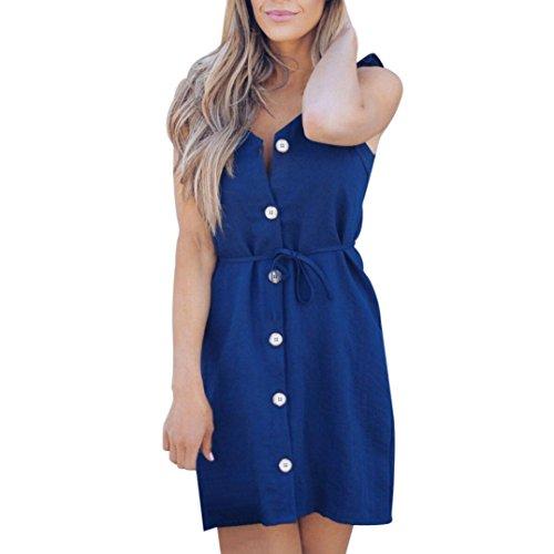 UFACE Promotionen TräGerloses Brad Button Solides Kleid Frauen Reizvolle TräGerlose äRmellose Quadratische Kragen Feste Knopf Backless Minikleid Blau