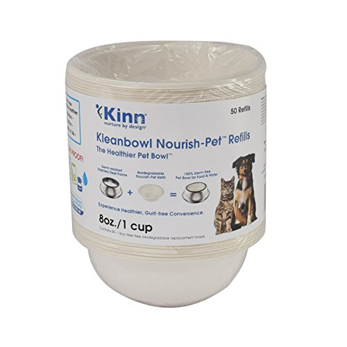 Kinn Kleanbowl Nourish Pet Refill Food & Water Bowls for Dogs & Cats, 8 ounce (1 cup) (Bowl 1)
