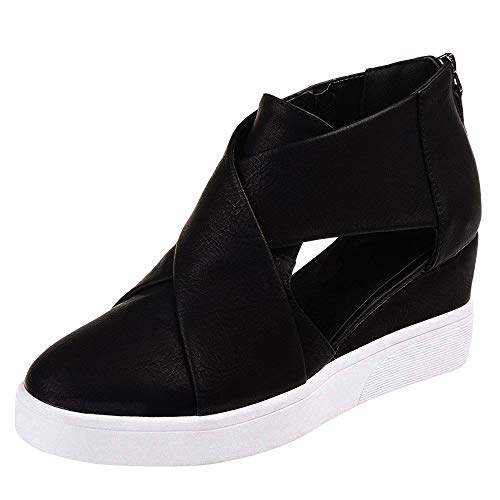 softome Women's Cut-Out Wedge Sneakers High Top Back Zipper Suede Shoes Black ()