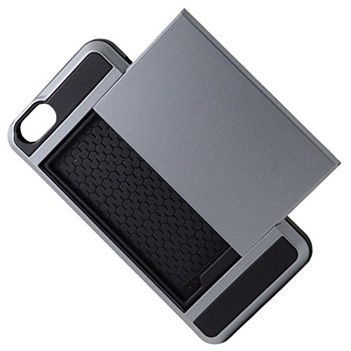 Telefon-Kasten - TOOGOO(R)Karte Tasche Stossfeste Duenne Hybrid Mappe Abdeckung fuer iPhone 6/ 6S Grau
