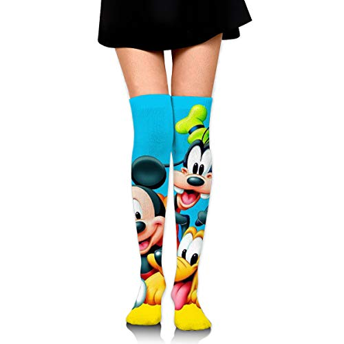 JINUNNU Women Thigh High Socks Over The Knee High Leg Warmer Donald Duck Mickey and Goofy Boot Stocking Extra Long Sport Tube Socks (Mickey Donald And Goofy In The Little Mermaid)