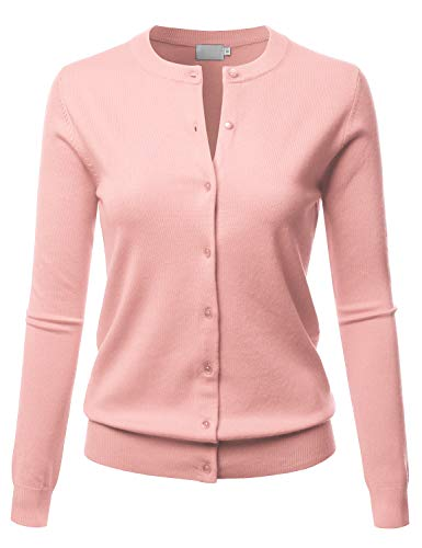 LALABEE Women's Crew Neck Gem Button Long Sleeve Soft Knit Cardigan Sweater Dustypink M