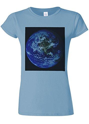 基礎散逸妖精Earth World from Moon Funny Novelty Light Blue Women T Shirt Top-XXL
