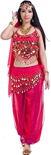 Aladdin Outfit Costumes Belly Dance Accessories Halloween Carnival Rose Aa5 piece Hot Pink -