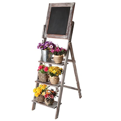 MyGift Chalkboard Display Shelves Torched product image