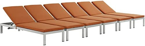 Modway Shore Outdoor Patio Aluminum Chaise with Cushions Set of 6 , Silver Orange