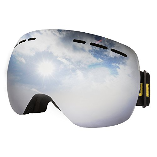 JIEPOLLY Ski Goggles , Winter Sports Snowmobile Snowboard Glasses with Anti-fog Double Layer Lens ,for Women Men Skiing Skating Climbing Motocross Motorcycle - Sunglasses Try Virtually