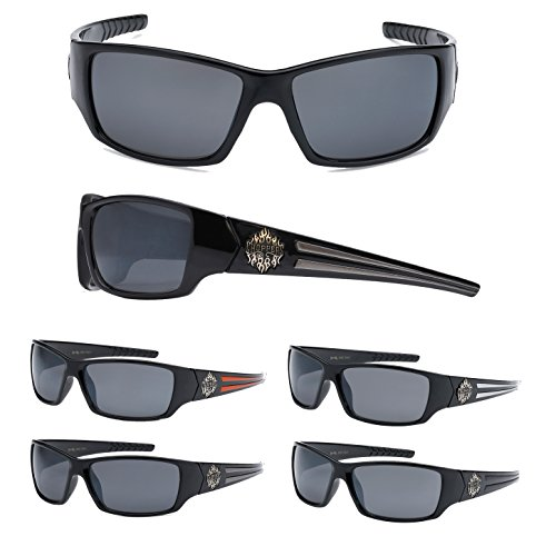 12 Pairs Of Wholesale Mens Plastic Biker Wrap Sunglasses BuyWholesaleSunglasses, Assorted - Biker Wholesale Sunglasses