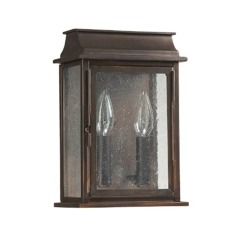Capital Lighting 9661OB Bolton 2-Light 11-Inch Exterior Wall Mount, Old Bronze Finish with Seedy Glass