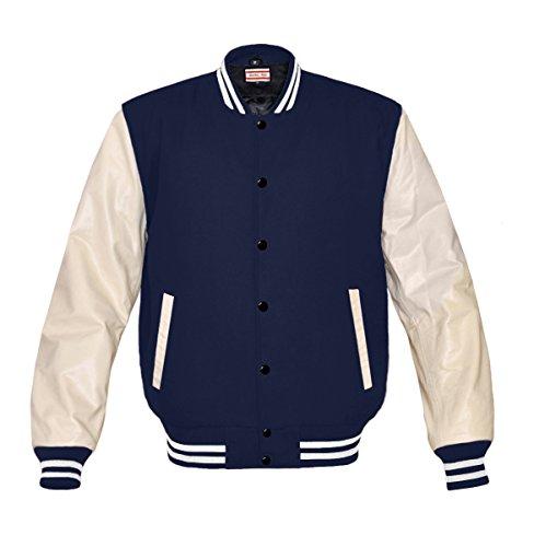 Superb Genuine Cream Leather Sleeve Letterman College Varsity Men Wool Jackets