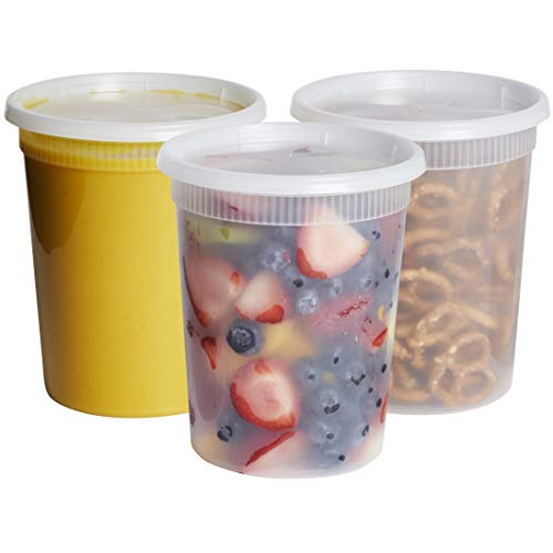 - [24 Sets- 32 oz.] Plastic Deli Food Storage Containers With Airtight Lids