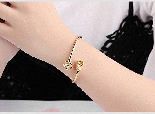LOHOME Women's Fashion Bracelets 18K Gold Tone Rose charm Open Bangle Cuff for Women by LOHOME (Image #5)
