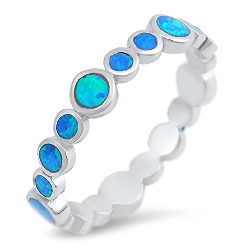 Eternity Blue Simulated Opal Stackable Ring New .925 Sterling Silver Band Size 7
