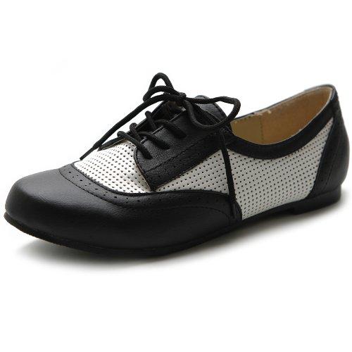 Ollio Women's Flat Shoe Classic Breathable Lace Up Oxford (5.5 B(M) US, Black)