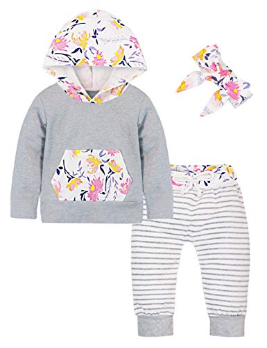 6cb5de09dd05 Baby Girl Outfits Florals Hoodie Top Pocket Striped Long Pants ...