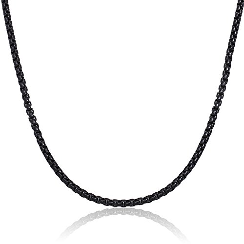 16 36 Stainless Steel Black Necklace