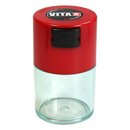 TV0-CRD Vitavac - 5g to 20 gram Vacuum Sealed Container Red Cap & Clear Body