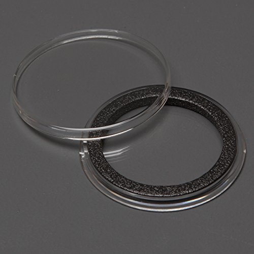Airtite Housing - (25) Genuine Air-Tite Coin Holders Brand Black Ring Type Coin Capsules Protect your Valuable Silver, Gold, Platinum, Challenge, and Medallion Coins with our Crystal Clear Protective Holders (39mm Black Ring)