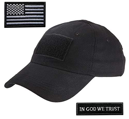 Lightbird Tactical Hat with 2 Pieces Military Patches, Adjustable Operator OCP US Flag Hats Cap