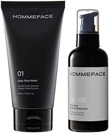 HOMMEFACE Easy Duo Skin Set for Men | 2-Step Daily Skincare Kit | Includes Face Wash and All-In-One Toner & Moisturizer | Alcohol-free, No SLS