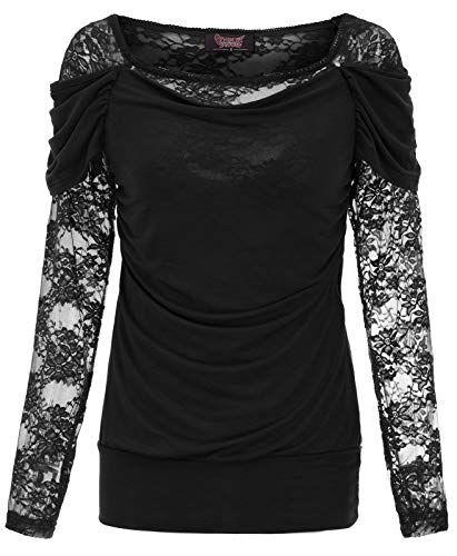 Women Steampunk Long Sleeve T Shirts Tops Lace Gothic Tee Shirts Black M