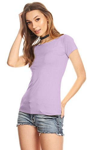(Womens Plain Tee Shirt Slim Fit Short Sleeve Casual Basic Top - Made in USA (Size Large, Lavender))