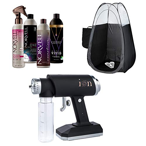 ION Spray Tan Machine Kit with Norvell Sunless Tanning Solution Bundle with Disposable Spa Feet and Pop Up Tent