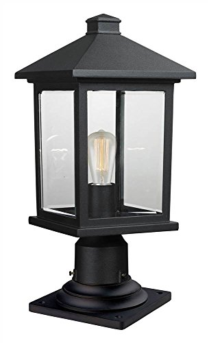(Z-Lite 531PHMR-533PM-BK 1 Outdoor Pier Mount Light, Black )