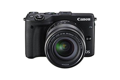 Canon EOS M3 Systemkamera (24 Megapixel APS-C CMOS-Sensor, WiFi, NFC, Full-HD) Kit inkl. EF-M 18-55 mm IS STM Objektiv und Premium-Zubehör-Kit (Kamera-Jacket, Leder-Trageriemen und 16 GB SD-Karte) schwarz