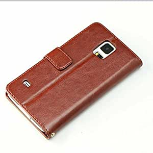 Mini - Luxury Soft Wallet Leather Stand Case Cover For Samsung Galaxy S5 i9600 ,Color: Khaki