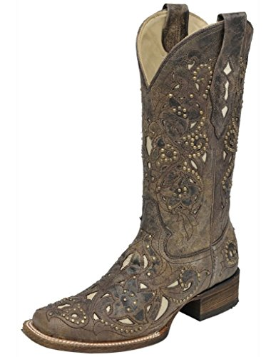 CORRAL Women's Studded Bone Inlay Crater Cowgirl Boot Square (Leather Inlay Cowgirl Boots)