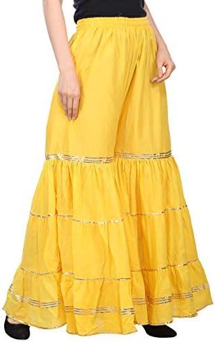 Fabrify Studio Gota Work Sharara en coton pour femme avec ghera (jaune, taille unique)