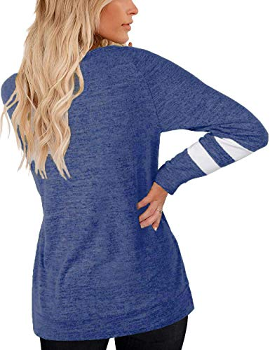 Kancystore Women's Comfy Casual Pullover Sweatshirt Crewneck Color Block Loose Long Sleeve Shirts S Blue