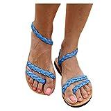 Dainzusyful Sandalias planas con tiras cruzadas de verano, sandalias de paja, informales y abiertas, para la playa