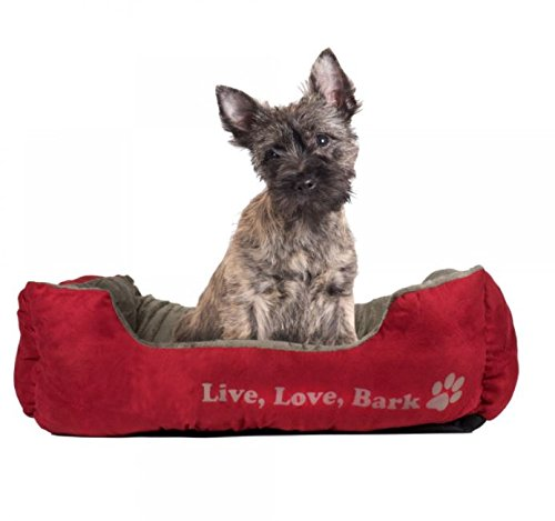 Beatrice Home Fashions LIVCUD22RDG Live Love Bark Rectangle Plush Cuddler Pet Bed, 22″ x 18″ x 6″, Red/Gold