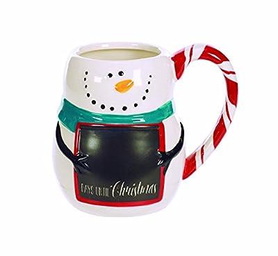 Happy Snowman Chalkboard Countdown 12 Ounce Ceramic Christmas Coffee Mug