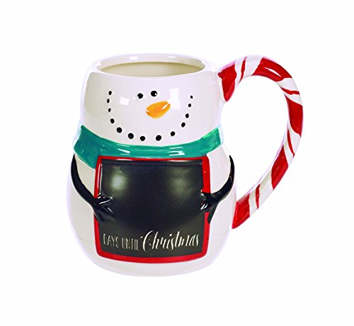 Happy Snowman Chalkboard Countdown 12 Ounce Ceramic Christmas Coffee Mug