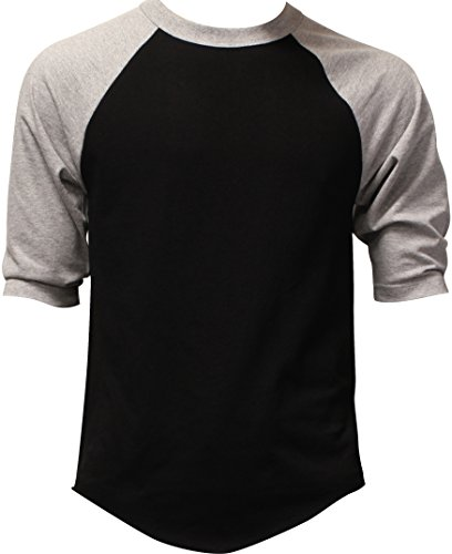 Casual Raglan Tee 3/4 Sleeve TShirt Baseball Jersey 3XL Black Heather Gray 3/4 Sleeve Cotton Hat