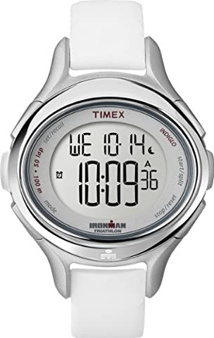 Timex Women's T5K499 Ironman All Day 50-Lap White Silicone Strap Watch (Sport Watches Womens White)