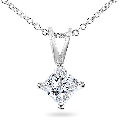 PARIKHS Princess Cut Diamond Solitaire Pendant Plus Quality in White Gold (0.15 ctw) (Necklace Engagement White)