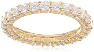 18k Yellow Gold Plated Sterling Silver Round Cubic Zirconia All-Around Band Ring (1.3 cttw), Size 6