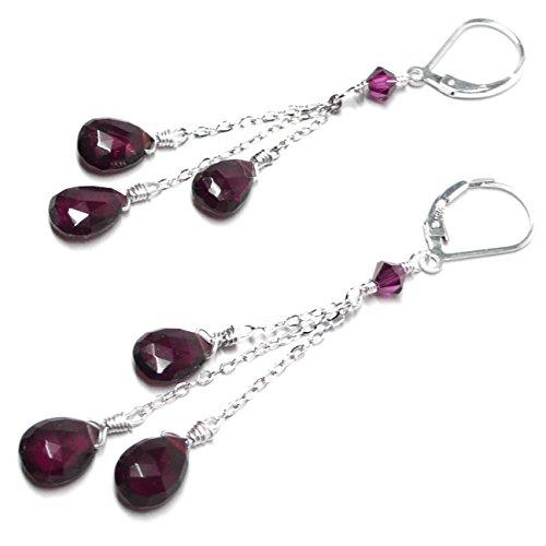 Three Garnet Briolettes Chain Dangle Earrings Sterling Silver Handcrafted Garnet Love Earrings