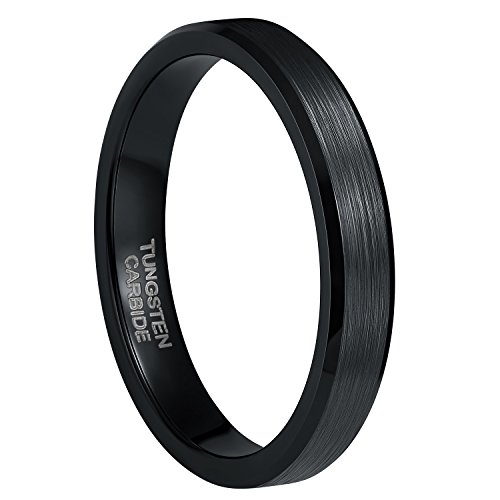 ing for Men Women Thin Brushed Wedding Band Size 5.5 (Black Tungsten Beveled Edge)