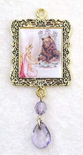Princess Bear Fairy Tale Altered Art Enamel Gold Frame Focal Bead Dangle -