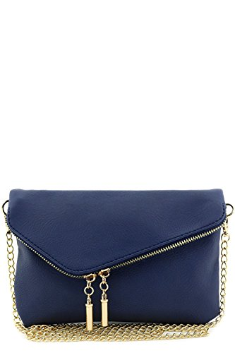 Envelope Wristlet Clutch Crossbody Bag with Chain Strap Navy